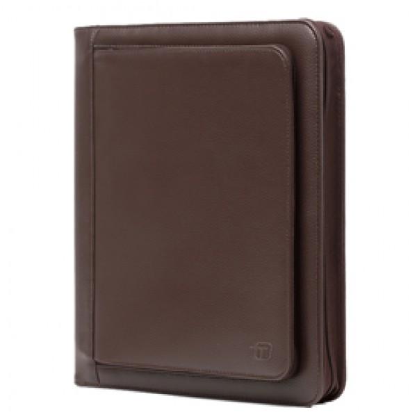 Portablocco Office - ecopelle - con zip - 26x34 cm - marrone - InTempo