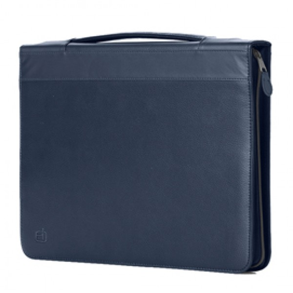 Portablocco Office - con manico - ecopelle - con zip - 28x36 cm - blu - InTempo