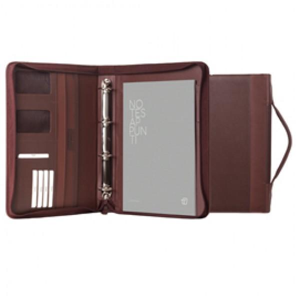 Portablocco Office - con manico - ecopelle - con zip - 28x36 cm - marrone - InTempo