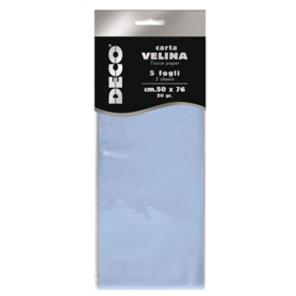 Carta velina - 20 gr - 50 x 76 cm - azzurro baby - Deco - busta 5 fogli