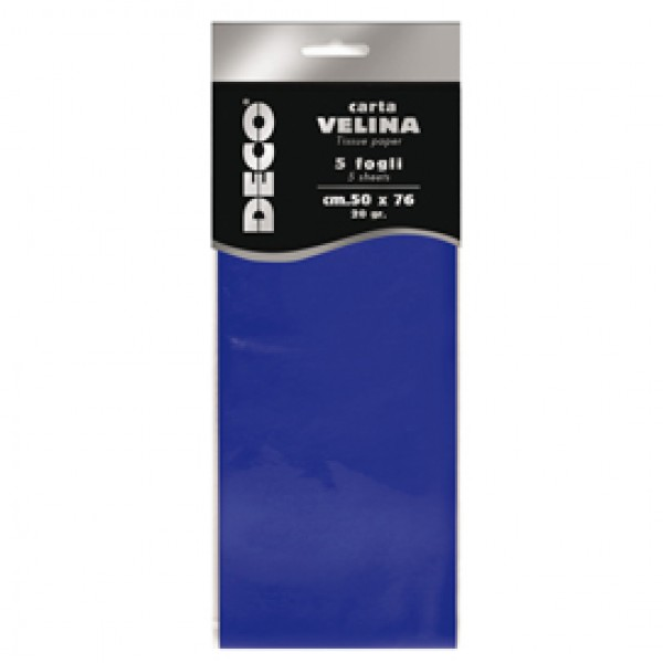 Busta 5 fogli carta velina 20gr 50x76cm blu CWR