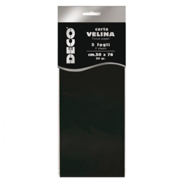 Carta velina - 20 gr - 50 x 76 cm - nero - Deco - busta 5 fogli