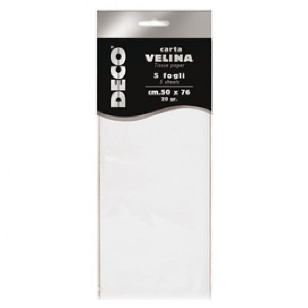 Busta 5 fogli carta velina 20gr 50x76cm bianco perlescente CWR