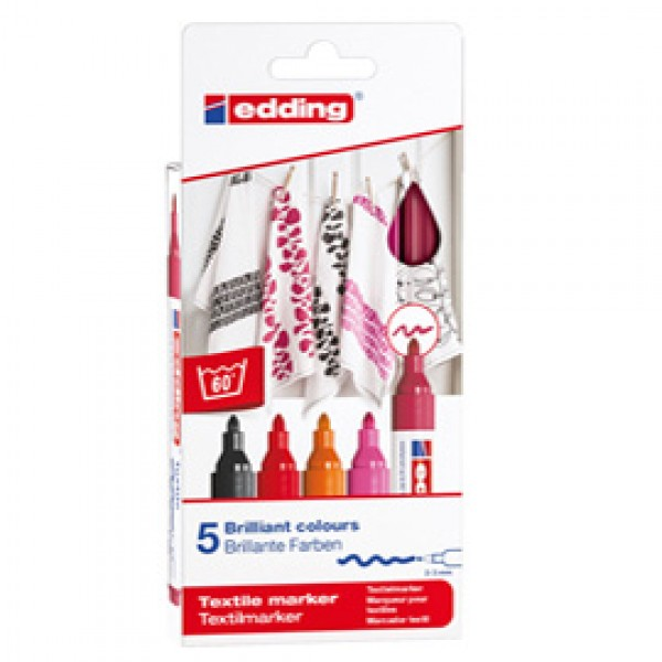 Marcatori per tessuto 4500 - punta tonda 2 - 3 mm - colori assortiti caldi - Edding - astuccio 5 pezzi