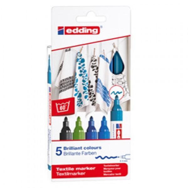 Marcatori per tessuto 4500 - punta tonda 2 - 3 mm - colori assortiti freddi - Edding - astuccio 5 pezzi