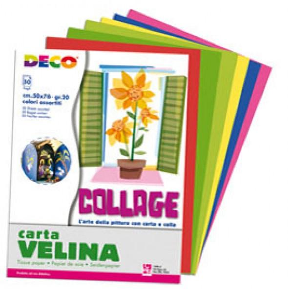 Carta velina - 50 x 76 cm - 10 colori assortiti - Deco - busta 50 fogli