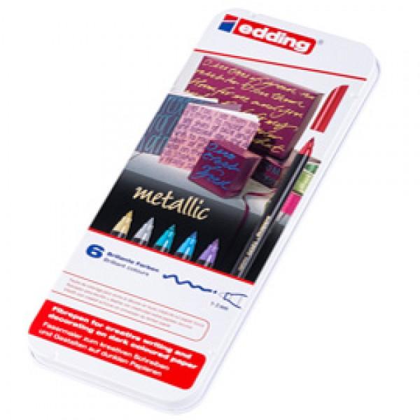 Pennarelli 1200 metallic - tratto 1 mm - colori assortiti - Edding - astuccio 6 pezzi