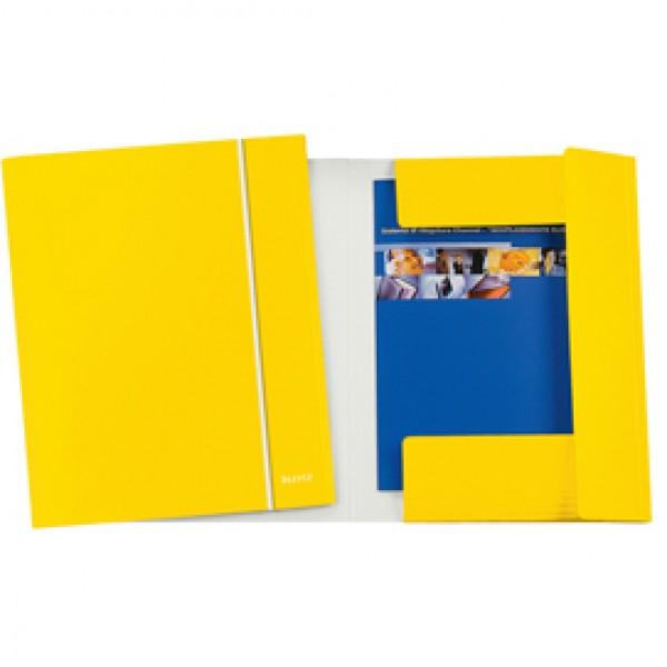 Cartella con elastico WOW - cartoncino plastificato - 3 lembi - 25x35cm - giallo - Leitz