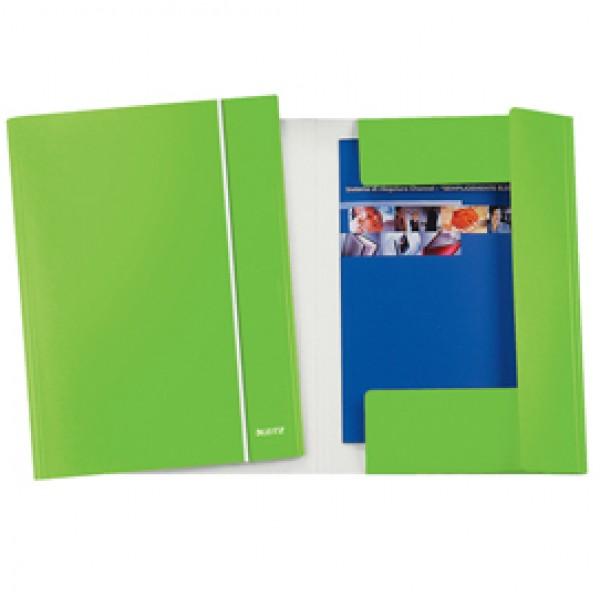Cartella con elastico WOW - cartoncino plastificato - 3 lembi - 25x35 cm - verde lime - Leitz