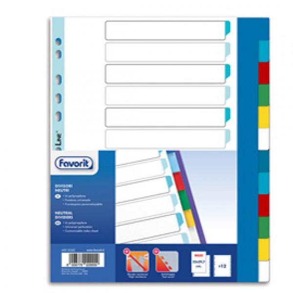 Divisori Neutri a 12  tacche - PP - A4 maxi - colori assortiti - Favorit