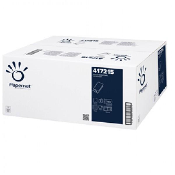 Asciugamani piegati a V - 2 veli - 18 gr - goffratura a onda - 24 x 21 cm - bianco - Papernet - conf. 150 pezzi