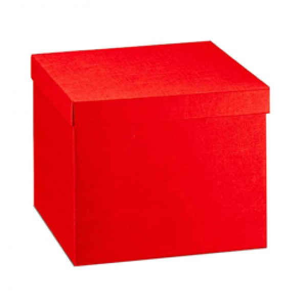 Scatola con coperchio - 30x30x24 cm - seta rosso - Scotton