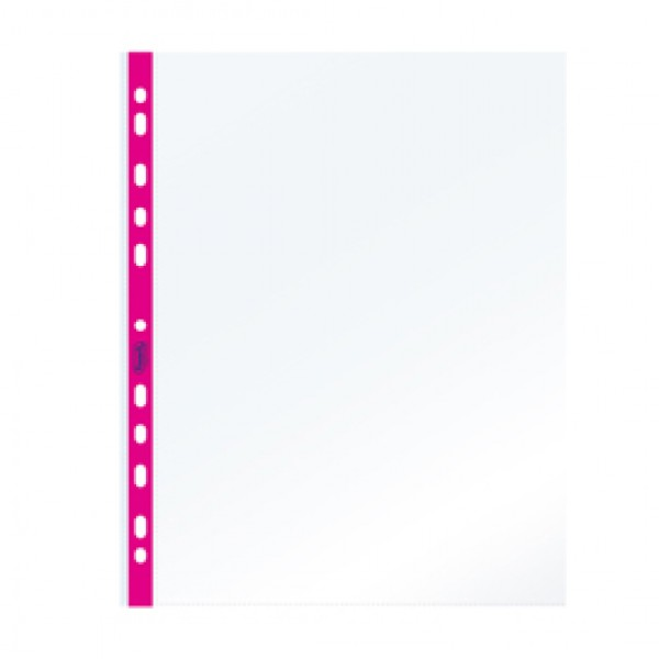 Buste forate - PPL - con banda fucsia neon - 22 x 30 cm - Favorit - conf, 25 pezzi