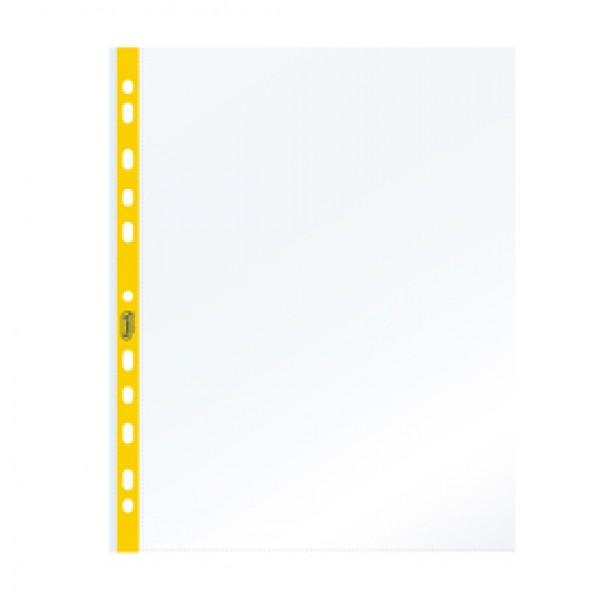 Buste forate - PPL - con banda giallo neon - 22  x 30 cm - Favorit - conf. 25 pezzi