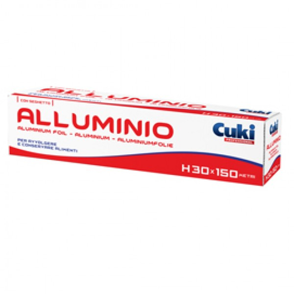 Roll alluminio - astuccio con seghetto - H 30 cm x150 mt - Cuki Professional