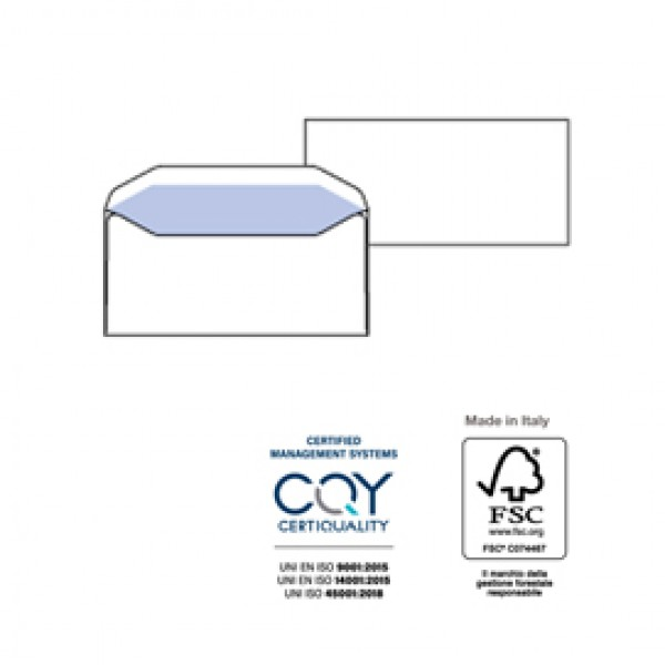Buste bianche Vitesse - senza finestra - 110x230 mm - 80 gr - Pigna - conf. 500 pezzi