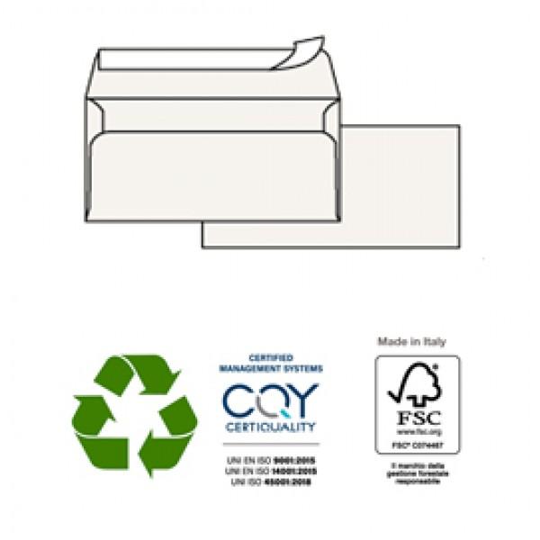 Buste bianche Kami - in carta riciclata - senza finestra - 110x230 mm - 100 gr - Pigna - conf. 500 pezzi