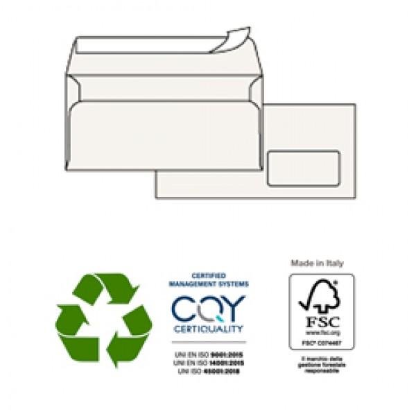 Buste bianche Kami - in carta riciclata - con finestra - 110x230 mm - 100 gr - Pigna - conf. 500 pezzi