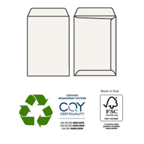 Buste a sacco - carta riciclata - senza finestra - 162x229 mm - senza finestra - 100 gr - Pigna - conf. 500 pezzi
