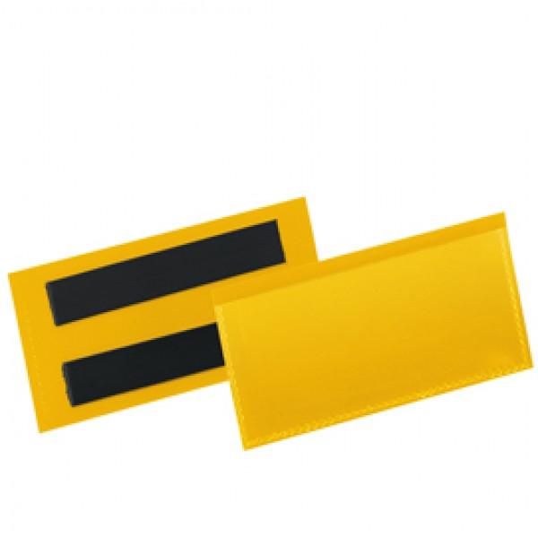 Buste identificazione magnetica - 100 x 38 mm - giallo - Durable - conf. 50 pezzi