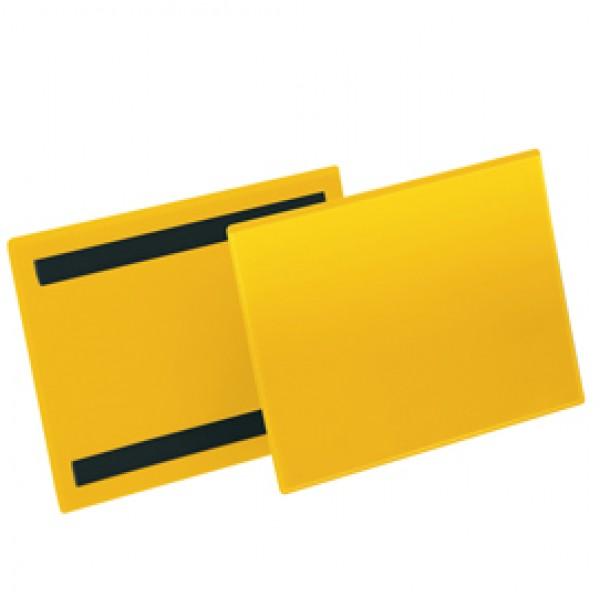 Buste identificazione magnetica - A5 orizzontale - giallo - Durable - conf. 50 pezzi