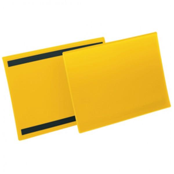 Buste identificazione magnetiche - A4 orizzontali - giallo - Durable - conf.50 pezzi