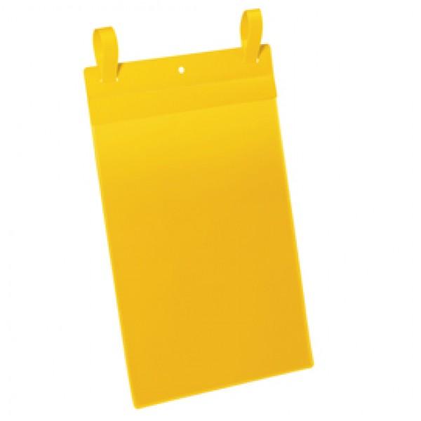 Buste identificazione con fascette - A4 verticale - giallo - Durable - conf. 50 pezzi
