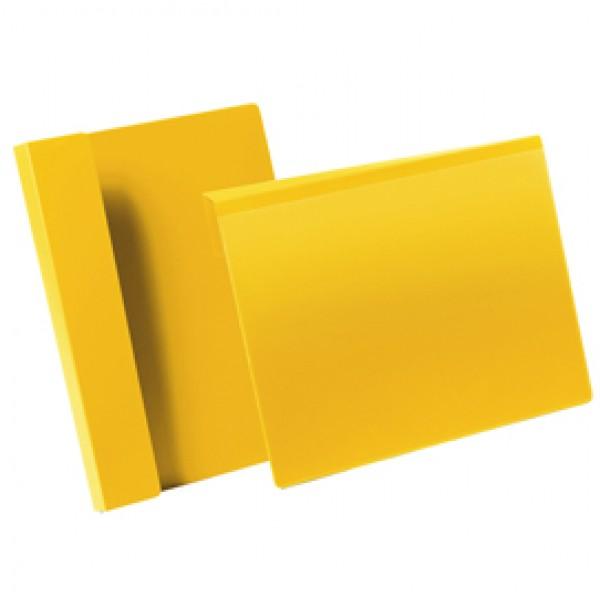 Buste identificazione con aletta -  A4 orizzontali - giallo - Durable - conf. 50 pezzi