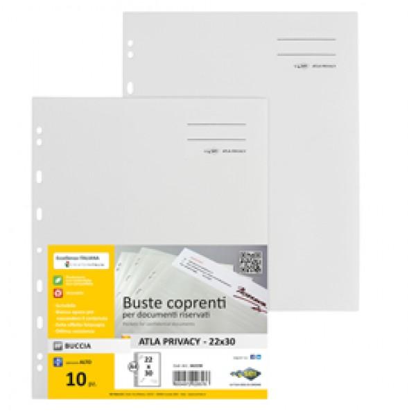 Buste con foratura universale Atla Privacy - per documenti riservati - Sei Rota - conf. 10 pezzi