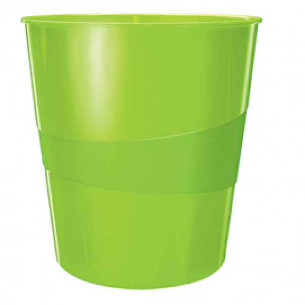 Cestino gettacarte WOW - altezza 32,4 cm - diametro 29 cm -15 lt - verde lime - Leitz