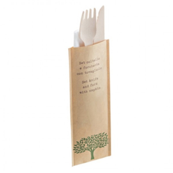 Bis coltello e forchetta - in legno - con tovagliolo - 16 cm - Leone - conf. 48 pezzi