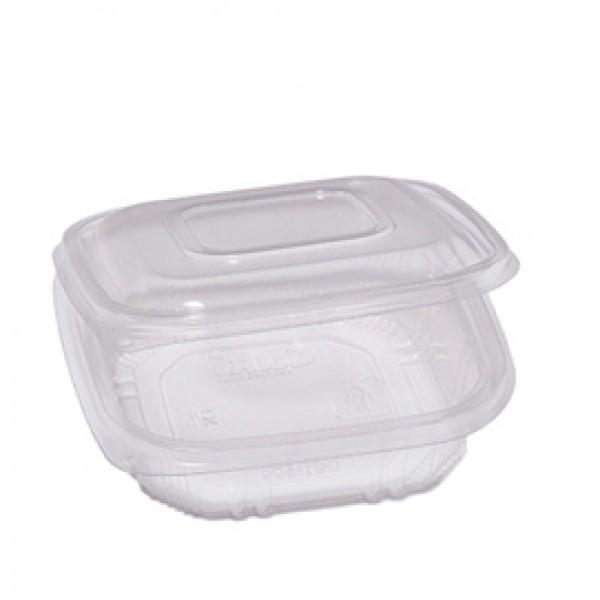 Contenitori in PP - con coperchio incernierato - 15,5x15,5x3,7 cm - Cuki Professional - pack 50 pezzi