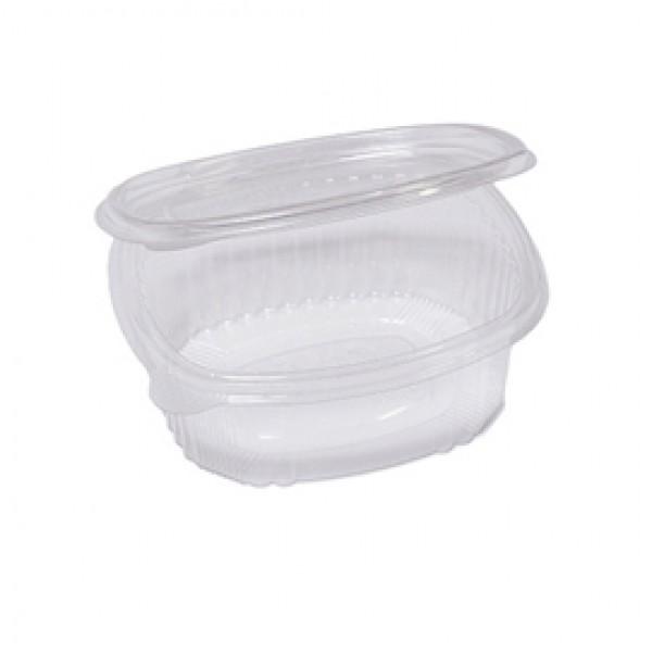 Contenitori ovali in PET - con coperchio incernierato - 14x11,9x5 cm - Cuki Professional - pack 50 pezzi