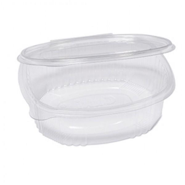 Contenitori ovali in PET - con coperchio incernierato - 18x15,1x6,5 cm - Cuki Professional - pack 50 pezzi