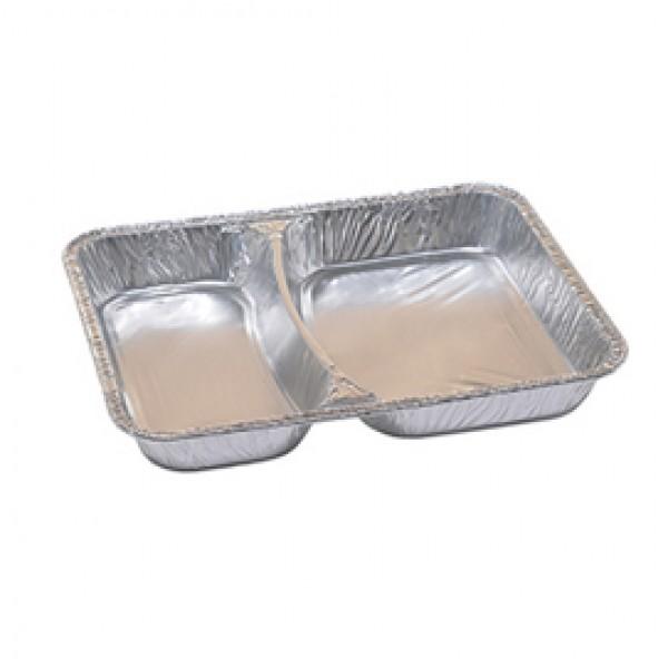 Contenitori in alluminio a due scomparti - 22,67 x 17,66 x 2,9 cm - Cuki Professional - pack 100 pezzi