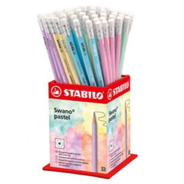 Matita Swano Pastel - grafite - HB - colori assortiti - Stabilo - expo 72 pezzi