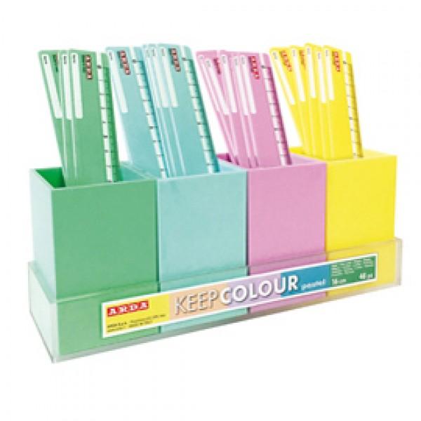 Righello - 16 cm - 4 colori pastel assortiti - Arda - expo da banco 48 pezzi