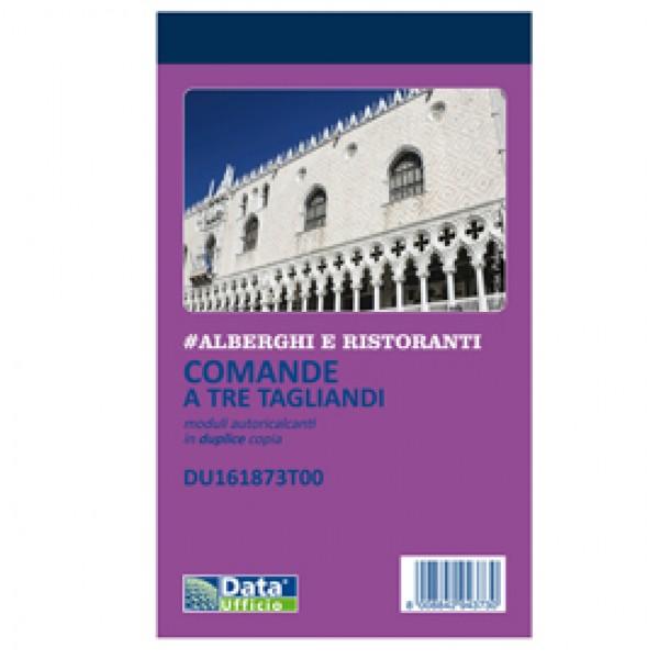 Blocco comande 3 tagliandi - copie autoricopianti - 16,8 x 10 cm - 25/25 fogli - DU161873T00 - Data Ufficio