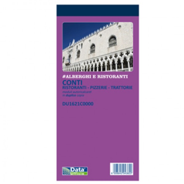 Blocco conti ristoranti/pizzerie/trattorie - 50 copie - 21,5 x 10 cm - DU1621C0000 - Data Ufficio