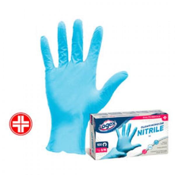 Guanti in nitrile non talcato - per uso medicale - taglia M/L - azzurro - Logex Professional - scatola 100 pezzi