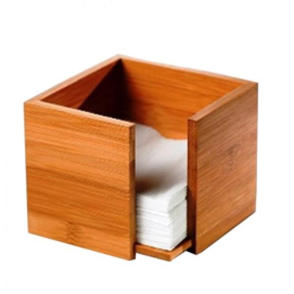 Portatovaglioli - in bamboo - 19 x 19 x 10 cm - colore naturale - Leone