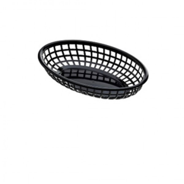 Cestino americano ovale - in plastica - 23,5 x 15 x 4,5 cm - nero - Leone