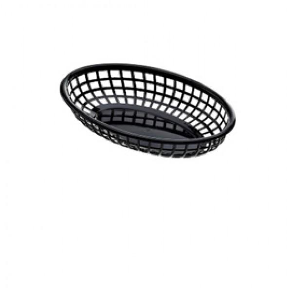 Cestino americano ovale - in plastica - 27,5 x 17,5 x 4 cm - nero - Leone