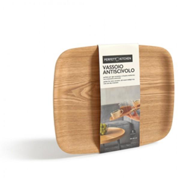 Vassoio antiscivolo - in legno frassino - 36 x 28 cm - Perfetto
