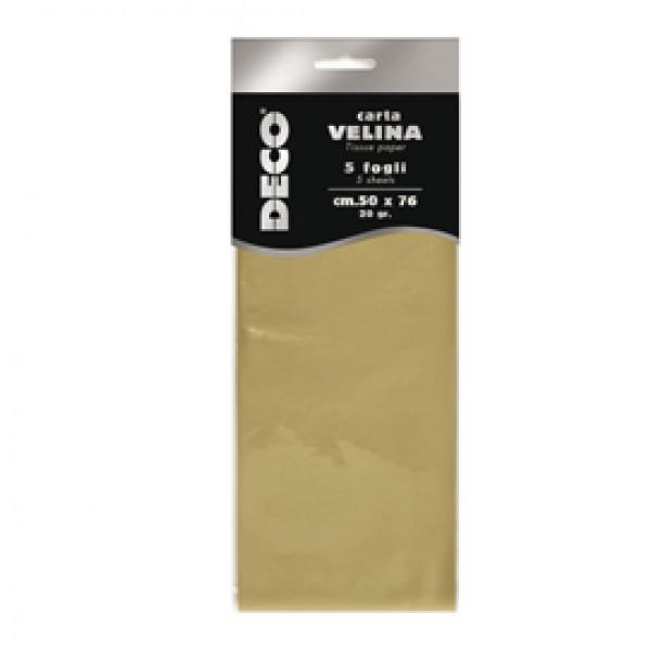 Carta velina metallizzata - 20 gr - 50x76 cm - oro - DECO - busta 5 fogli