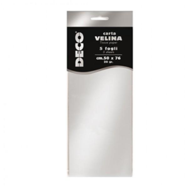 Carta velina metallizzata - 20 gr - 50x76 cm - argento - DECO - busta 5 fogli