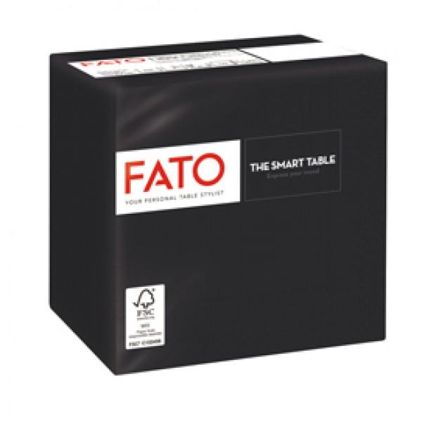 Tovagliolo - carta - 24 x 24 cm - 2 veli - nero - Fato - conf. 100 pezzi