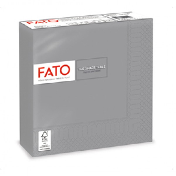 Tovagliolo - carta - 33 x 33 cm - 2 veli - grigio - Fato - conf. 50 pezzi
