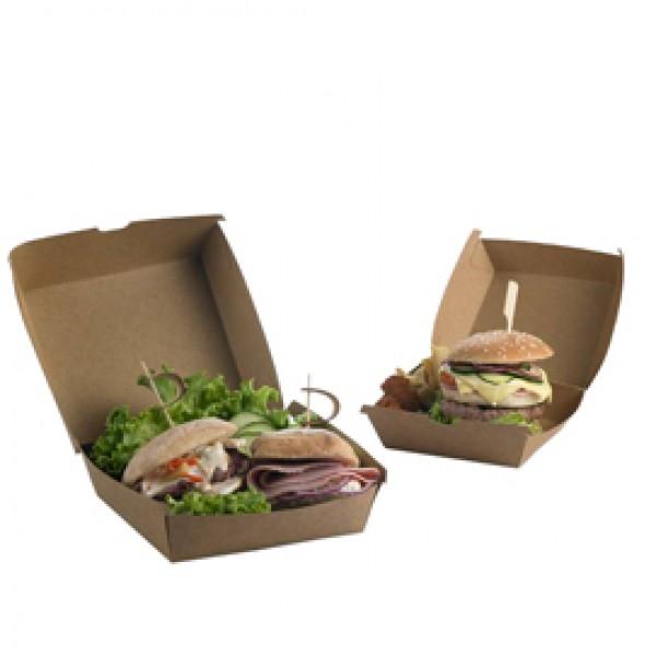 Scatole per hamburger Street Food in carta kraft - 16 x 16 x 9 cm - Leone - conf. 50 pezzi
