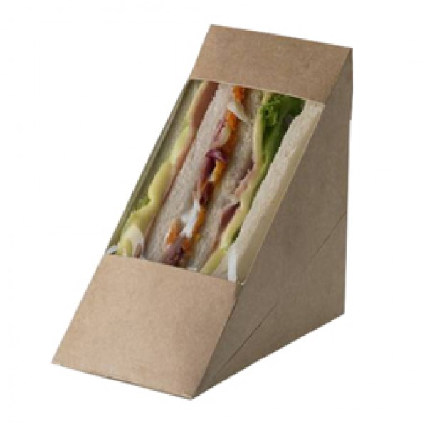 Scatole per sandwich Street Food in carta kraft - 12,3 x 7,2 x 12,3 cm - Leone - conf. 100 pezzi